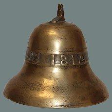 1814 Original Antique German Bronze Bell - 19th Century Nider Vorschutz Cast Bell