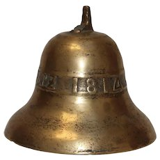 1814 Original Antique German Bronze Bell - 19th Century Nider Vorschutz Cast Bell