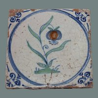 "RARE 17th century Dutch Delft Polychrome Pottery Tile ""Flower on Turf"""