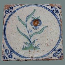 "RARE 17th century Dutch Delft Polychrome Pottery Tile ""Flower on Turf"""