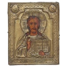 Antique Russian Icon depicting Jesus Christ , 19th century