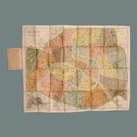 Art Nouveau Pocket / Folding Map of Paris including Metro / Subway Plan
