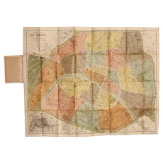 Art Nouveau Pocket / Folding Map of Paris including Metro / Subway Plan