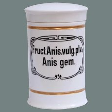 Art Nouveau Pharmacy Jar / Apothecary Pot for Anise with Gilt Trims