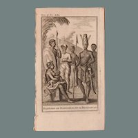 1717 Copper Engraving of the people of Zanzibar & Madagascar - 18th Century Ethnographic Print