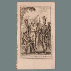 1717 Copper Engraving of the people of Zanzibar & Madagascar - 18th Century Ethnographic Print