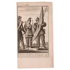 1717 Copper Engraving of the people of Antarctica & New Guinea - 18th Century Ethnographic Print