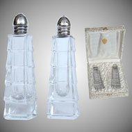 Sterling Silver & Crystal Set of Salt and Pepper Shaker in original Box