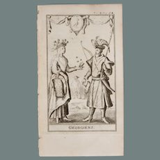 1717 Copper Engraving of the people Georgia - 18th Century Ethnographic Print