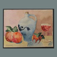1920's Impressionism Still Life by Franz Brantzky / Aquarelle Watercolor Painting from Europe