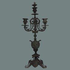 19th Century Bronzed Metal Candelabra