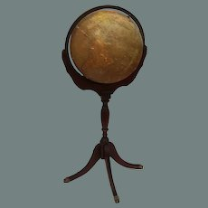 1935 Terrestrial Floor Globe 12 Inch by Replogle with Wood Base and lion paw feet