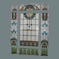 Masterpiece Art Nouveau Set of 9 Art Nouveau Stained and Leaded Glass Window Panels