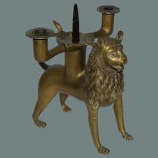 19th Century Lion Pricket Candlestick from the Cathedral Treasury of Hildesheim - Reproduction of the Original 13th Century Candelabrum ( UNESCO World Cultural Heritage )