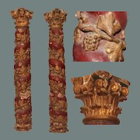 17th Century Set of 2 Baroque contorted Polychrome Columns with Wine Gilt (Wood carved)