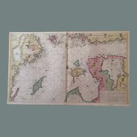 Rare Original Map Sea Chart of northern Baltic Sea (Keulen circa 1700)