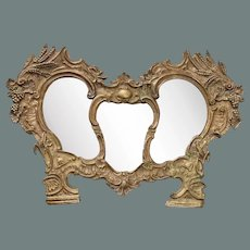 Exceptional 18th Century Baroque Mirror - Wood Carved & Silver plated overlaid Metal