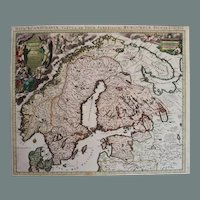 Antique map of Scandinavia (Norway, Sweden, Denmark, Finland, Russia etc) (P.Mortier 1705)
