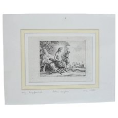 17th Century Copper Engraving of the Greek God Apollo