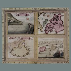 17th Century Very Scarce Maps / Sea Charts of the Greece Islands (Vincenzo CORONELLI)