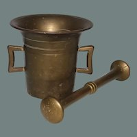 19th Century Bronze Mortar and Pestle from Continental Europe
