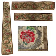 18th Century Large Rococo Table Runner - Long Hand Embroidered & Needlepoint Tapestry Fabulous Antique