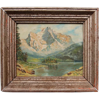 19th Century Oil Painting of Alpine Landscape from Germany / Switzerland circa 1880