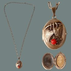 Vianova Vintage Silver and Coral Locket - Art Nouveau 835 Silver Necklace with photo