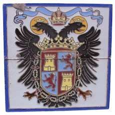 """Set of two early 1900's Tiles """"Double-Headed Eagle with Shield"""" from Sevilla Spain"""