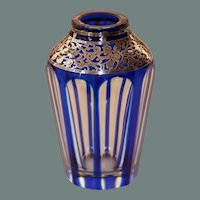 Art Nouveau Bohemian Lead Crystal Cobalt Blue Vase with Sterling Silver Overlay - 1900's Handcut