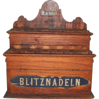"""19th Century Needle Cabinet Dispenser - """"Blitznadeln"""" Sewing Shop Display"""