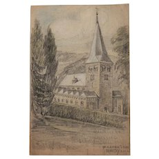1940's Original Crayon & Charcoal Drawing of church in Herchen by Franz Brantzky