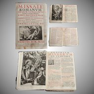 """1696 Catholic Church Liturgy """"Missale Romanum"""" from Venice, Italy with 17th Century Copper Engravings"""