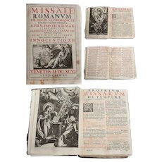"1696 Catholic Church Liturgy ""Missale Romanum"" from Venice, Italy with 17th Century Copper Engravings"
