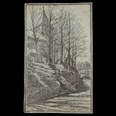 1920's Original Charcoal Drawing of the Church in Rettinghaus by Franz Brantzky - Red Tag Sale Item
