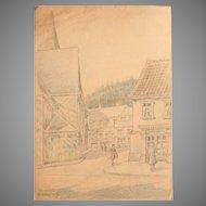 1930's Original Pencil & Pastel Drawing of Ründeroth Germany by Franz Brantzky