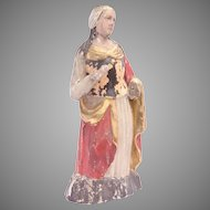 18th Century Baroque Statue of Saint Agatha of Sicily from Northern Europe - Polychrome Wood Carved