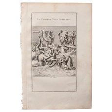 18th Century Copper Engraving of an Ancient Battle Scene from L'antiquité expliquée et représentée en figures by Bernard de Montfaucon