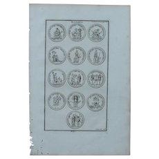 18th Century Copper Engraving of Ancient Roman Trophies from L'antiquité expliquée et représentée en figures by Bernard de Montfaucon