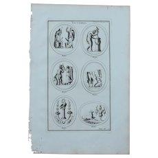 18th Century Copper Engraving of Ancient Roman Victory Reliefs from L'antiquité expliquée et représentée en figures by Bernard de Montfaucon
