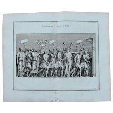 """18th Century Copper Engraving of Ancient Roman Scene """"Plunder of the temple"""" from L'antiquité expliquée et représentée en figures by Bernard de Montfaucon"""