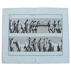 18th Century Copper Engraving of Ancient Roman Scene from L'antiquité expliquée et représentée en figures by Bernard de Montfaucon