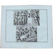 18th Century Copper Engraving of Ancient Roman Scene of Military Fortifications from L'antiquité expliquée et représentée en figures by Bernard de Montfaucon