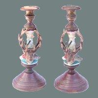 19th Century Pair of Handpainted Porcelain & Bronze Candelabras / Candlesticks with Deer, Dog & Boar