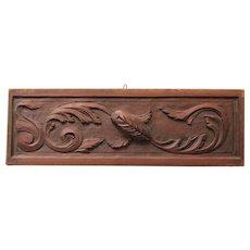 1900's Art Nouveau Carved Wood Panel