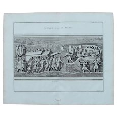 "18th Century Copper Engraving of Ancient Roman Scene ""Attack with the Ram""  from L'antiquité expliquée et représentée en figures by Bernard de Montfaucon"