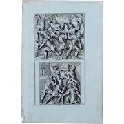 """18th Century Copper Engraving of an Ancient Roman Scene """"Military Construction"""" from L'antiquité expliquée et représentée en figures by Bernard de Montfaucon"""