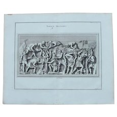 "18th Century Copper Engraving of an Ancient Roman Scene ""Military Construction"" from L'antiquité expliquée et représentée en figures by Bernard de Montfaucon"
