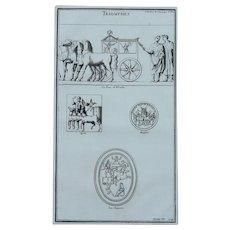 18th Century Copper Engraving of Ancient Roman Reliefs from L'antiquité expliquée et représentée en figures by Bernard de Montfaucon