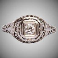 Art Nouveau Diamond Ring - 18K White Gold - Exquisite Filigree Engagement Ring